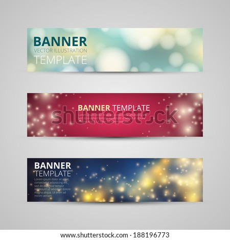 A set of modern vector banners with glittering stars on bokeh