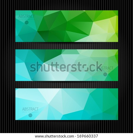 A set of modern vector banners with triangles