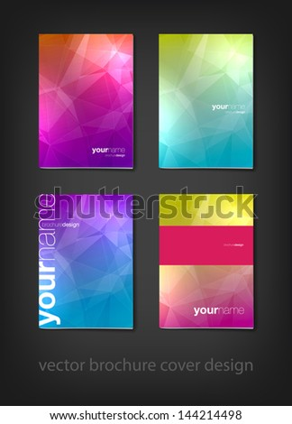 A set of modern vector brochure cover design templates with polygonal background - stock vector