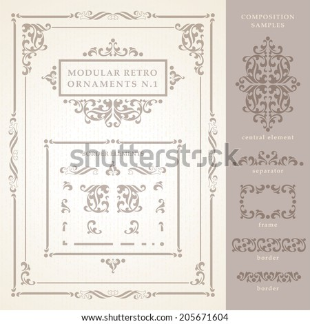 A Set of modular Vector Retro Ornaments, with borders, corners, frames and separators. A few samples are also present for inspiration on how to use it. - stock vector