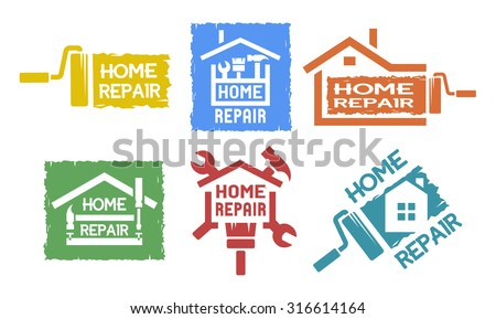 A set of monochrome emblems and labels on the topic of home repair. - stock vector