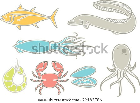 A set of most popular types of seafood, using mostly in japan cuisine. - stock vector