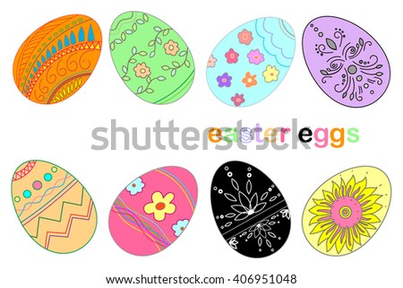 A set of multicolored easter eggs decorated with ornament. Easter eggs for Easter holidays design. Easter eggs isolated on white background - stock vector