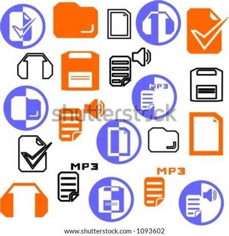 A set of 21 multimedia icons.