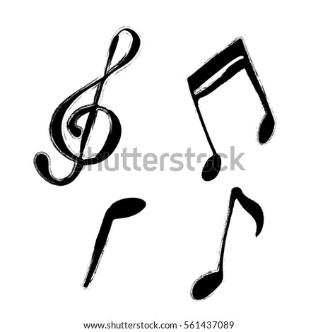 set music notes hand drawn grunge stock vector 2018 561437089 rh shutterstock com Music Notes Graphics Single Music Notes
