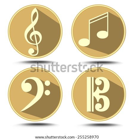 A set of music symbol in circle with long shadow. Treble clef, bass clef, music note - stock vector
