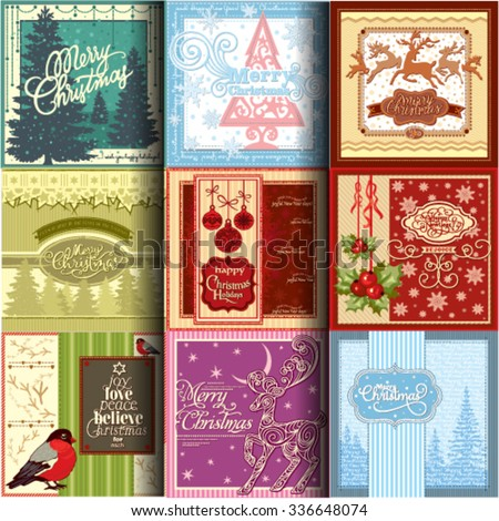 A set of nine detailed vector Christmas and New Year greeting cards for print, web and product design.
