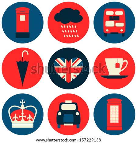 A set of nine flat design icons with London symbols isolated on white background. - stock vector