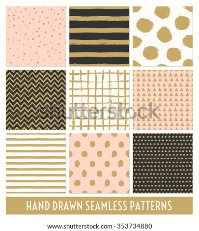 A set of nine hand drawn seamless patterns in black, gold, pastel pink and cream. Stripes, polka dots, triangles, chevron, round brush stroke patterns. - stock vector