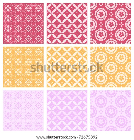 "A set of nine seamlessly tiling patterns in trendy colors. All design are seamless and ""pattern swatches"" included in file, for your convenient use. - stock vector"