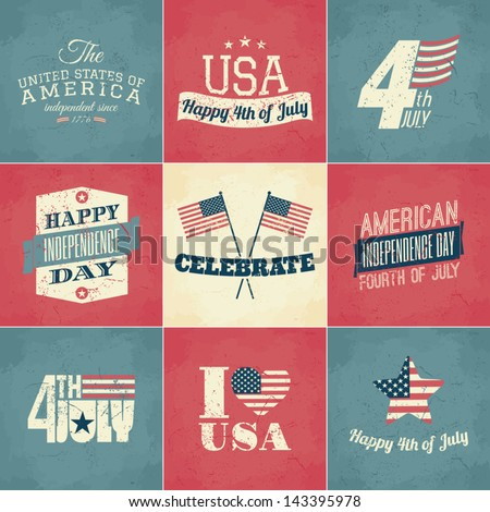 A set of nine vintage greeting cards for the American Independence Day. - stock vector