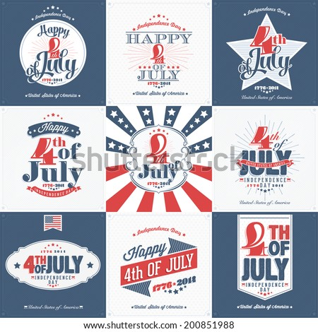 A Set of Nine Vintage Greeting Cards: Happy Independence Day, United States of America, 4th of July, 1776-2014, with fonts - stock vector