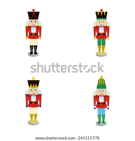 a set of nutcracker soldiers on a white background - stock vector