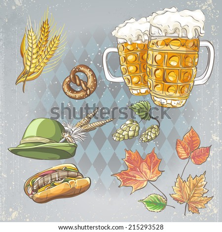 A set of objects for Oktoberfest - stock vector