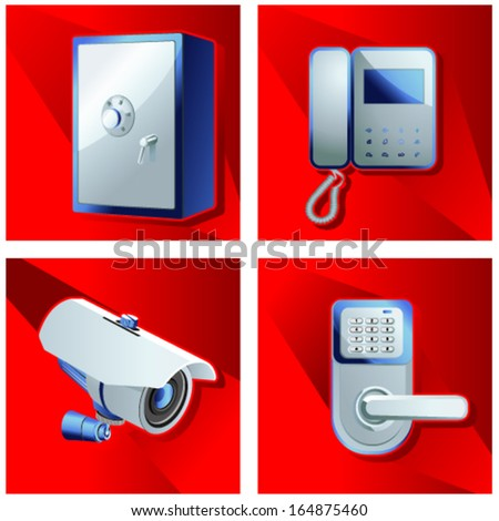 A set of objects of access control - stock vector