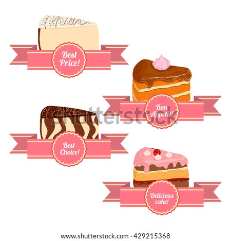 A set of of appetizing cakes. Vector collection of pieces of cake servings. Sponge cake cheesecake cherry caramel. Delicious cakes with ribbons for sales brochures advertising signboards confectionery - stock vector