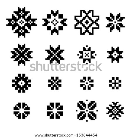 A set of of black and white geometric designs . Vector illustration.  - stock vector
