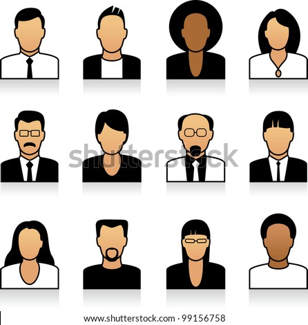 A set of office people icons - stock vector