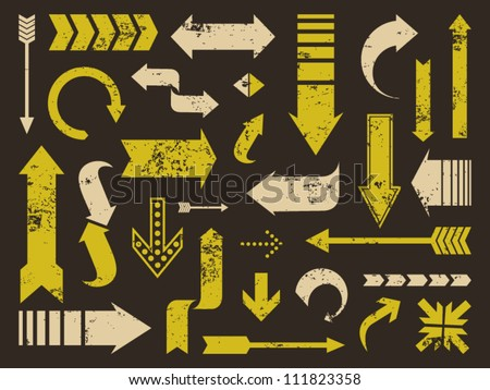 A set of old scratched arrows. Grunge texture easy to remove. - stock vector
