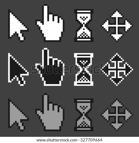 A set of old style, pixelated mouse cursors./ Mouse pointers - stock vector