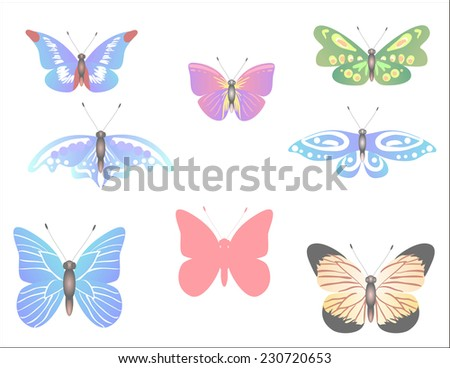 a set of pastel colored butterflies for your spring design