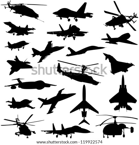 A set of paths of aircraft and helicopters. Black and white illustration. - stock vector
