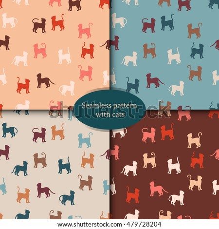 A set of patterns. Colorful cats silhouette seamless pattern. Simple vector illustration