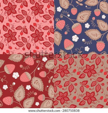 A set of patterns of berries. Patterns are made on national grounds. Used strawberries and raspberries.