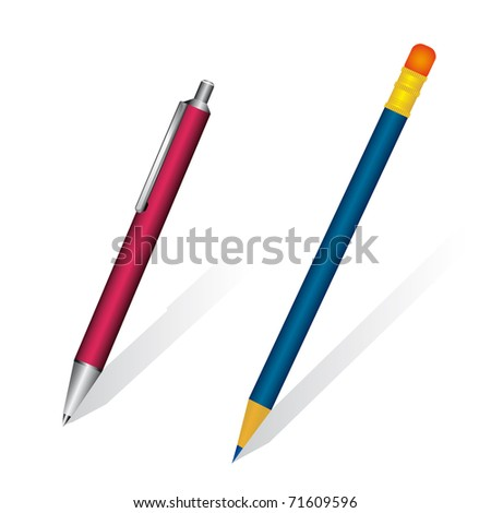 A set of pen and pencil. Vector illustration