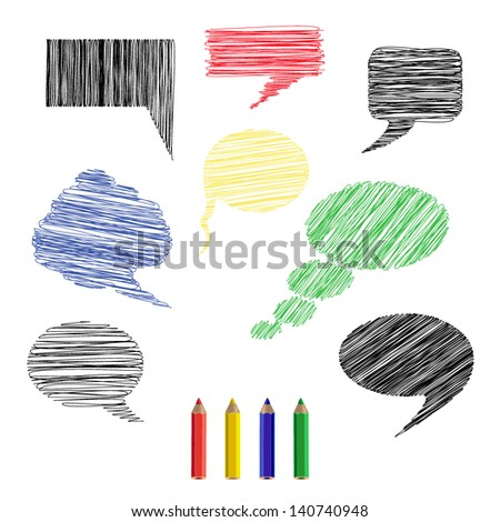 A set of pencil sketches icons comments. Vector illustration - stock vector
