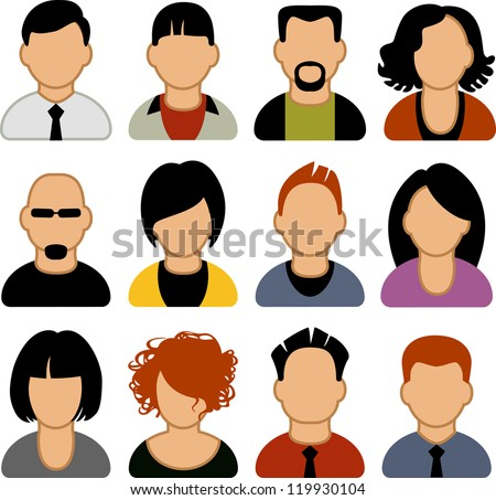 A set of people icons - stock vector