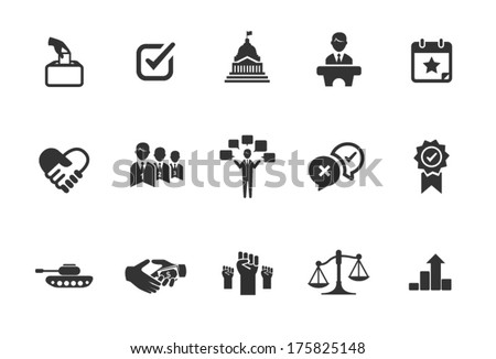 A set of political icons in black and white. - stock vector