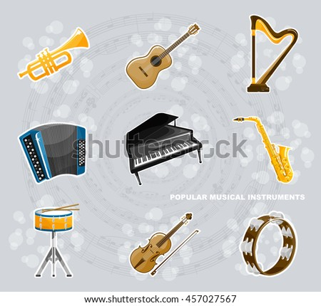a set of popular musical instruments