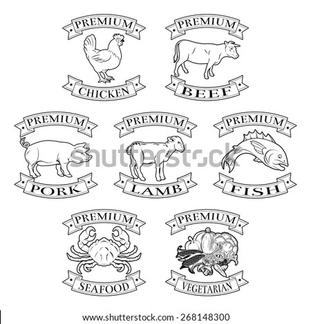 A set of premium food label or sticker illustrations for meat and food groups - stock vector
