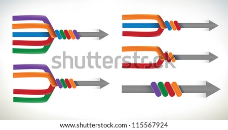 A set of presentation elements using arrows merging and uniting into one element - stock vector