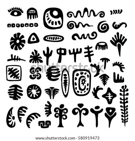 Set Primitive Tribal Symbols Stock Vector 580919473 Shutterstock