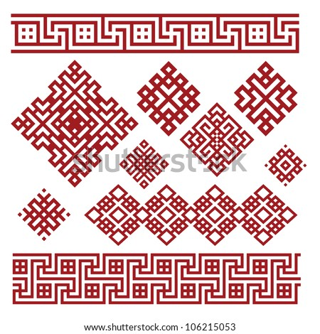 A set of red and white geometric designs 2. Vector illustration.