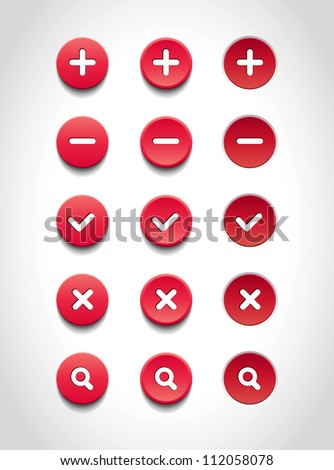 A set of red vector round web buttons - stock vector