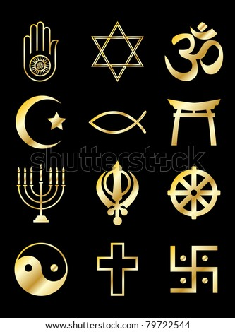 A set of Religious symbols. Gold isolated on black. EPS10 vector format. - stock vector