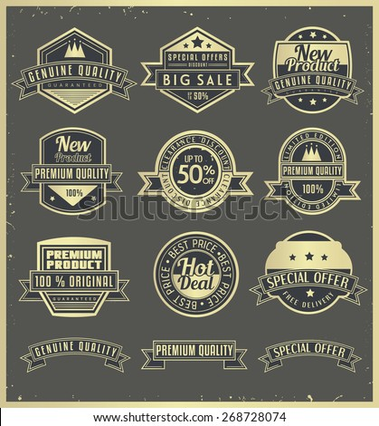 A set of retro badges and labels. - stock vector