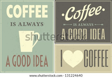 A set of retro design coffee posters.