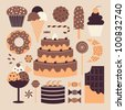 A set of retro dessert icons in pastel colors. - stock vector
