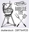 A set of retro style barbecue line art icons. BBQ  utensils: Grill stove, tongs and spatula and grilled sausage. Hand drawn isolated vector illustration. - stock vector