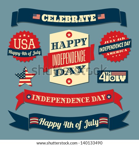 A set of retro style design elements for Independence Day. - stock vector