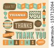 A set of retro style 'Thank You' design elements. - stock