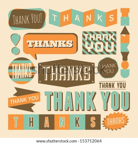A set of retro style 'Thank You' design elements. - stock vector