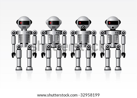 A set of robots in vector format - stock vector