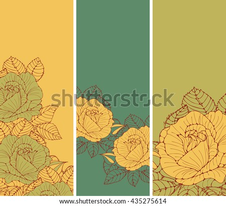 a set of romantic English style bookmarks with roses in honey and green shades