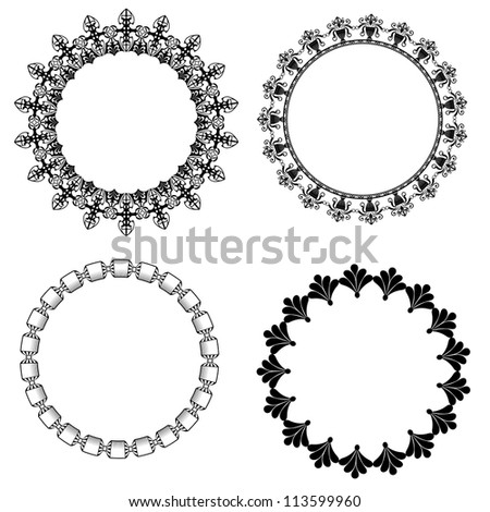 A set of round frames with ornament - stock vector