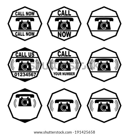 A set of rubber stamp with phone on a white background. Vector  - stock vector